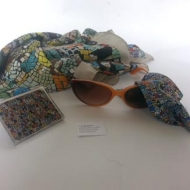 silk scarf combined with  glasses cleaner by mosaic Luca Barberini